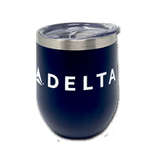 12oz Copper Vacuum Insulated Cup - Navy - White Logo Thumbnail